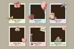 Het kader van het ontwerphuwelijk Decoratieve fotokaders voor de dag van de valentijnskaart Vecotrillustratie Royalty-vrije Stock Afbeelding