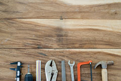 Het kader van het werkhulpmiddelen op hout Stock Foto