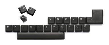 In het kader van Onderhoudstekst op computertoetsenbord Stock Foto