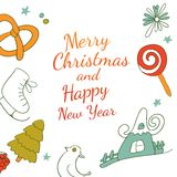 Het kader van tekeningselementen voor het ontwerp van de Kerstmiskaart Stock Afbeelding