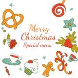Het kader van tekeningselementen voor Kerstmis speciaal menu Stock Afbeelding