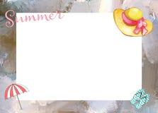 Het Kaderachtergrond van het de zomerstrand Royalty-vrije Stock Afbeeldingen