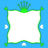 Het kadergrens van prinsfrog crown hearts Royalty-vrije Stock Foto