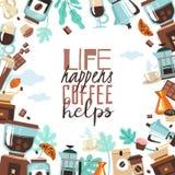 Het kaderillustratie van het koffiehuis royalty-vrije illustratie