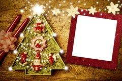 Het kaderkaarten van de Kerstmisfoto, leuke boom Royalty-vrije Stock Foto's