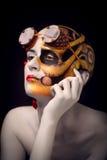 Het kale meisje met een kunst maakt omhoog en steampunk glazen Royalty-vrije Stock Fotografie