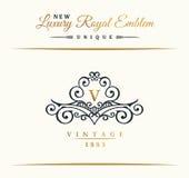Het kalligrafische embleem van de Luxelijn Bloeit elegant embleemmonogram Koninklijk uitstekend verdelerontwerp royalty-vrije illustratie