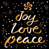 Het kalligrafische van letters voorzien van Joy Love Peace Christmas Nieuwjaar backgr Royalty-vrije Stock Afbeelding