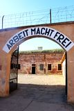 Het kamp Hoofdingang van de Theresienstadtconcentratie stock foto
