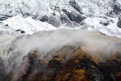 Het Kamp van de Annapurnabasis, de bergen van Himalayagebergte, Nepal Stock Foto