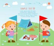 Het kamp van de jonge geitjeszomer, Jonge geitjes op een het Kamperen Reis Stock Illustratie