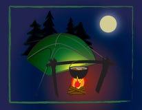 Het kamp van de nacht Stock Fotografie