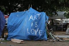 Het kamp van de Occupy beweging in Washington Stock Foto's