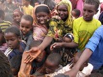 Het Kamp van de Vluchteling van de honger Royalty-vrije Stock Foto's