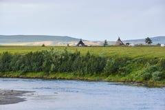 Het kamp van rendierherders in het Polaire Natuurreservaat van Oeralgebergte royalty-vrije stock afbeeldingen
