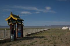 Het Kamp van Yurt bij de Woestijn van Gobi Stock Afbeeldingen