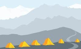 Het kamp Vectorillustratie van de Himalayanbasis Stock Illustratie