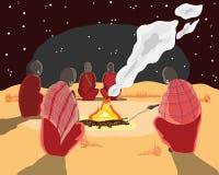 Het kampbrand van Masai royalty-vrije illustratie