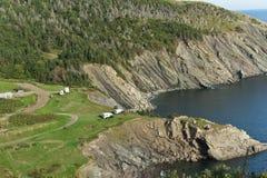Het kampeerterrein van de Inham van het vlees, het Bretonse Eiland van de Kaap Royalty-vrije Stock Foto