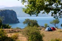 Het kamperen in aard Royalty-vrije Stock Fotografie