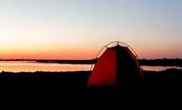 Het kamperen in Afrika op Zambezi rivier in Namibië Royalty-vrije Stock Afbeeldingen