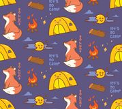 Het kamperen als thema had naadloze achtergrond met vos vector illustratie