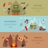 Het kamperen bannerreeks Royalty-vrije Stock Foto's