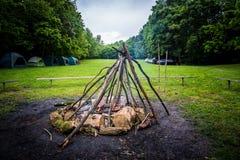 Het kamperen brand Royalty-vrije Stock Foto