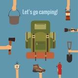 Het kamperen concept Stock Afbeeldingen