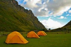 Het kamperen in de Andes Stock Foto's