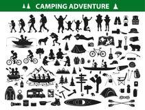 Het kamperen de inzamelingsreeks van het wandelingssilhouet stock illustratie