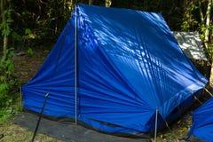 Het kamperen in een bos Royalty-vrije Stock Afbeelding