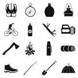 Het kamperen eenvoudige pictogrammen Stock Afbeelding