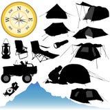 het kamperen en apparatuur royalty-vrije illustratie