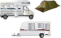 Het kamperen en Caravaning Stock Foto's