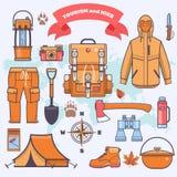 Het kamperen en het pictograminzameling van het van het wandelingsmateriaal en toestel Stock Fotografie
