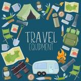 Het kamperen en toerismemateriaal Stock Fotografie