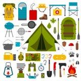 Het kamperen en Wandelings Vectorpictogrammen Stock Foto