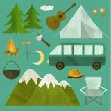 Het kamperen geplaatste pictogrammen Stock Foto