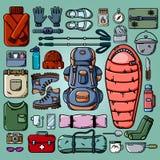 Het kamperen geplaatste pictogrammen Vector vlakke reeks het kamperen en wandelingsvoorwerpen vector illustratie