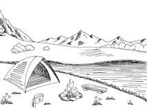 Het kamperen grafische zwarte witte de schetsillustratie van het berglandschap stock illustratie