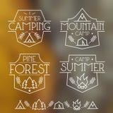 Het kamperen kentekens en pictogrammen royalty-vrije illustratie