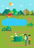 Het kamperen landschap, kampeerterreinplaats in bergmeer royalty-vrije illustratie