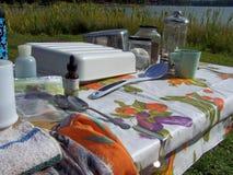 Het kamperen lijst Stock Foto