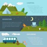 Het kamperen malplaatje, concept Royalty-vrije Stock Fotografie