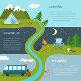 Het kamperen malplaatje, concept Stock Afbeelding
