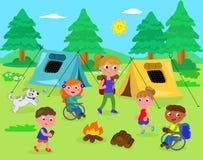Het kamperen met gehandicapte jonge geitjesvector Stock Foto