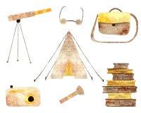 Het kamperen objecten inzameling stock illustratie