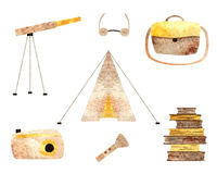Het kamperen objecten inzameling royalty-vrije illustratie
