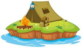 Het kamperen op een eiland Stock Afbeelding